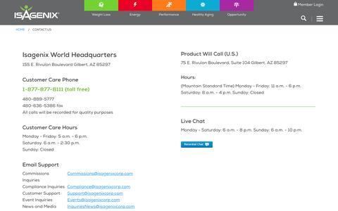 Screenshot of Contact Page isagenix.com captured March 30, 2017