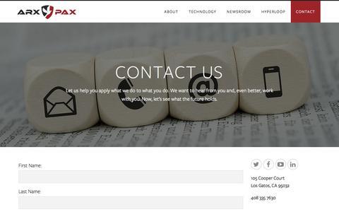 Screenshot of Contact Page arxpax.com - Contact - Arx Pax - captured Dec. 26, 2015