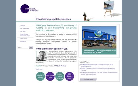Screenshot of Home Page yfmep.com - YFM - YFM Equity Partners - Transforming small businesses - captured Oct. 3, 2014