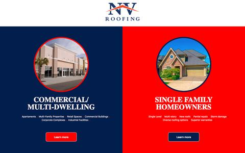 Screenshot of Home Page nvroofs.com - NV Roofing | Sterling, VA - captured Feb. 23, 2020