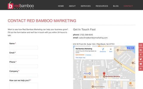 Screenshot of Contact Page redbamboomarketing.com - Contact Red Bamboo Marketing Today | Red Bank, NJ Agency - captured Nov. 21, 2017