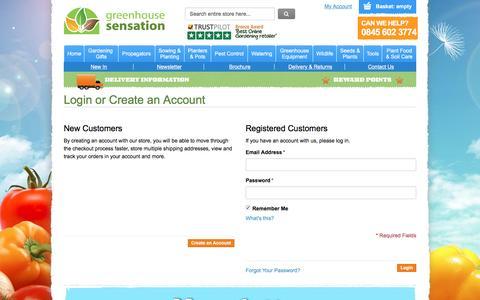 Screenshot of Login Page greenhousesensation.co.uk - Customer Login - captured May 24, 2017