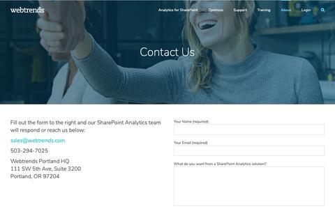 Screenshot of Contact Page webtrends.com - Contact Us – Webtrends - captured Feb. 7, 2019