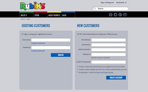 Screenshot of Login Page rubiks.com - Rubik's Official Website - captured Oct. 31, 2014