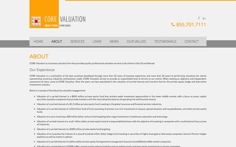 Screenshot of About Page corevaluation.com - CORE Valuation | Global Business Valuation Firm | About - captured Sept. 26, 2014