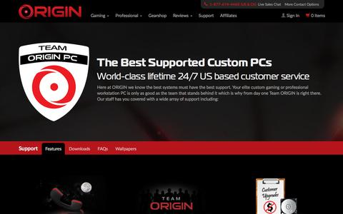 Screenshot of Support Page originpc.com - Support Central | The Best Supported Custom PCs | ORIGIN PC - captured Nov. 23, 2015