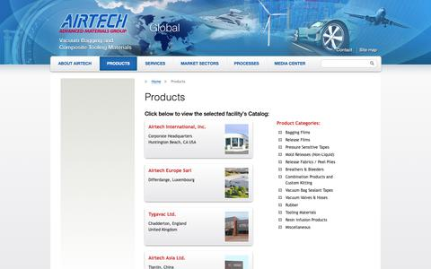 Screenshot of Products Page airtechonline.com - Products   Airtech Global - captured Oct. 3, 2018