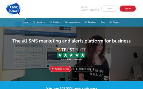 Screenshot of Home Page textlocal.com - Send Bulk SMS Online - Simple, Self-Service Platform for SMS Marketing - captured June 5, 2017