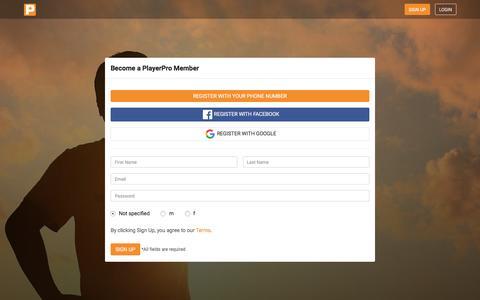 Screenshot of Signup Page getplayerpro.com - PlayerPro - The Social Network for Soccer - captured Dec. 6, 2016