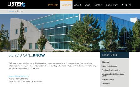 Screenshot of Support Page listentech.com - Support | Listentech - captured Jan. 27, 2016