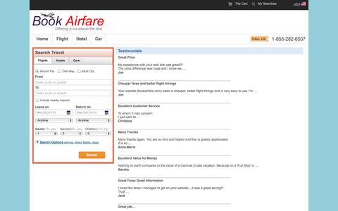 Screenshot of Testimonials Page bookairfare.com - Book Airfare - Book Flight Tickets, Cheap Air Tickets, Book Domestic & International Flight Tickets, Lowest Airfares, Hotels, Cars :: Testimonials - captured Sept. 25, 2014
