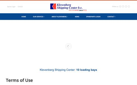 Screenshot of Terms Page klevenberg.com - Terms of Use - Klevenberg Shipping Center - captured Oct. 15, 2018