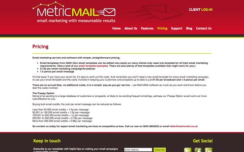 Screenshot of Pricing Page metricmail.co.uk - Email marketing services from MetricMail Nottinghamshire and Lincolnshire | Pricing   | Metric Mail - captured Oct. 27, 2014