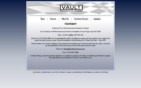 Screenshot of Contact Page vaultautomotive.com captured Oct. 7, 2014