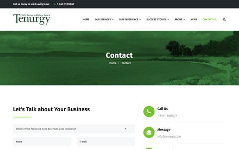 Screenshot of Contact Page tenurgy.com - Contact Tenurgy for a Utility Audit - captured Nov. 7, 2018
