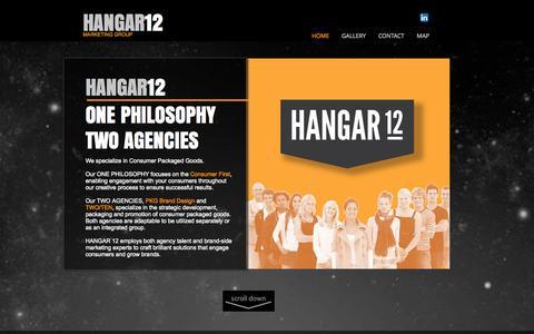 Screenshot of Home Page hangar-12.com - HANGAR 12 Agency | Brand Marketing | Packaging | Chicago - captured Sept. 26, 2014