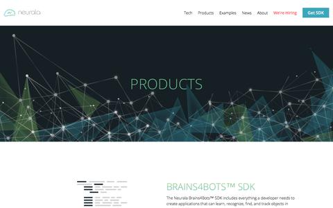 Screenshot of Products Page neurala.com - Products - Neurala - captured Nov. 16, 2017