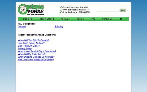 Screenshot of FAQ Page pawposse.com captured Oct. 2, 2014