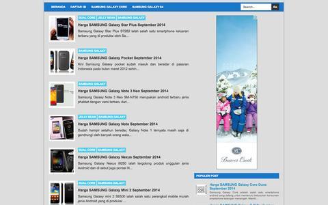 Screenshot of Home Page harga-samsung-smartphone.blogspot.com - Harga Samsung Smartphone - captured Sept. 22, 2014