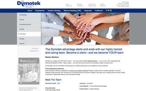Screenshot of Team Page dymotek.com - Dymotek's Team Provides Total Molding Solutions - captured Jan. 14, 2018