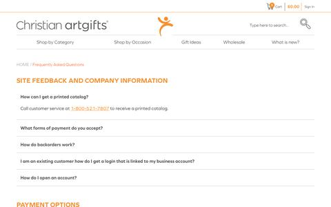 Screenshot of FAQ Page christianartgifts.com - Frequently Asked Questions - captured July 17, 2018
