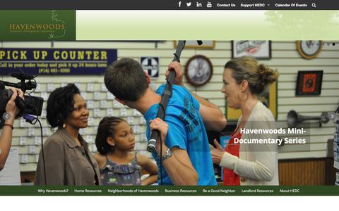 Screenshot of Home Page havenwoods.org captured Jan. 27, 2016