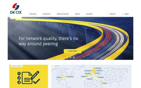 Screenshot of Home Page de-cix.net - Home - DE-CIX - captured June 3, 2017