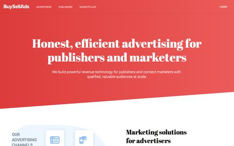 Screenshot of Home Page buysellads.com - Advertising Solutions for Publishers and Marketers | BuySellAds - captured Sept. 20, 2019