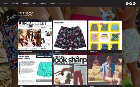Screenshot of Press Page franksaustralia.com - Franks Australia — Press - captured Sept. 30, 2014
