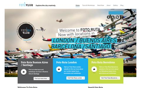 Screenshot of Home Page foto-ruta.com - Photography Tours and Photography Courses in Buenos Aires and Santiago | Welcome to Foto Ruta, the home of Photography Tours and Photography Courses in Buenos Aires  Argentina and Santiago. We offer a wide range of fun and exciting tours and events. - captured Feb. 10, 2016