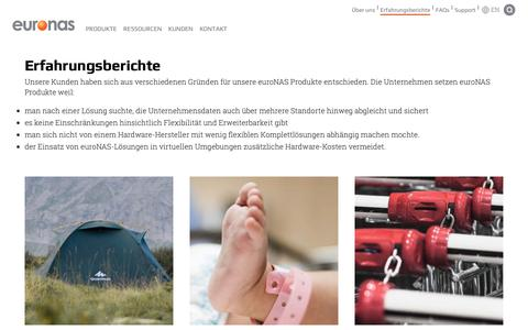 Screenshot of Case Studies Page euronas.com - Erfahrungsberichte | High-Availability Storage and Virtualization - captured Oct. 23, 2018