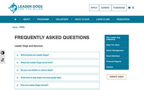 Screenshot of FAQ Page leaderdog.org - FAQs - Leader Dogs for the Blind - captured Sept. 27, 2018