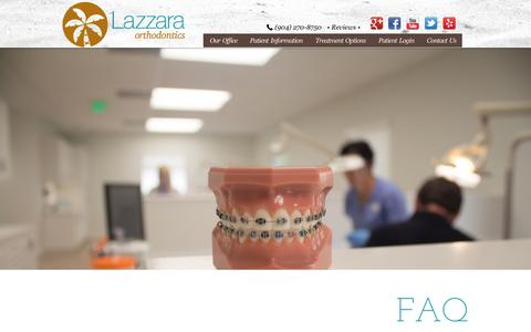 Screenshot of FAQ Page beachesbraces.com - FAQ » Lazarra Orthodontics Jacksonville - captured Oct. 27, 2014