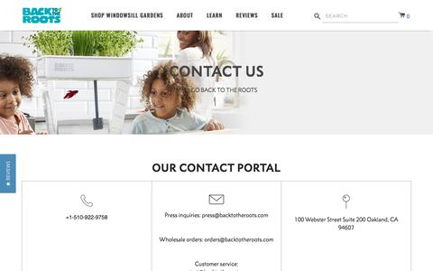 Screenshot of Contact Page backtotheroots.com - Contact Us – Back to the Roots - captured Oct. 7, 2019