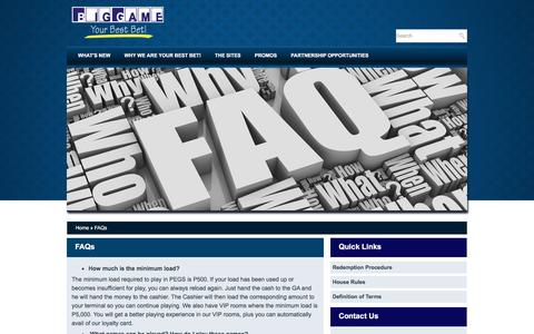 Screenshot of FAQ Page biggamecasino.ph - PAGCOR e-Games (BIGGAME) - Online Casino Philippines | BigGame, Inc. - captured April 30, 2016