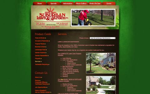 Screenshot of Services Page suburbanlg.com - Suburban Lawn & Garden, locally grown plants and landscape supplies - captured Feb. 16, 2016