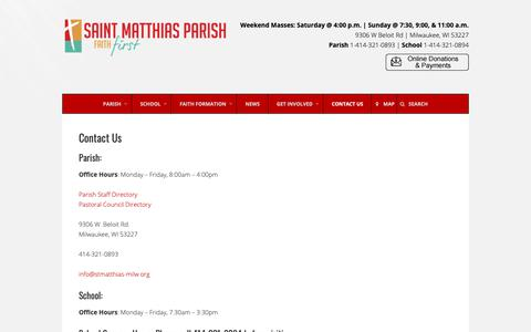 Screenshot of Contact Page stmatthias-milw.org - Contact Us – St. Matthias Catholic Parish - captured Oct. 18, 2018