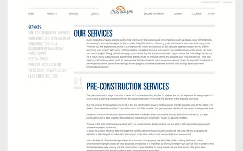 Screenshot of Services Page axxysconstruction.com - Our Services | Axxys Construction - captured Oct. 4, 2014