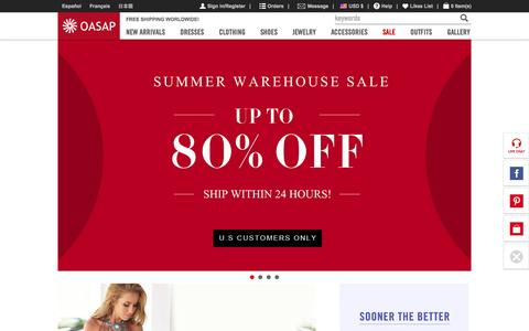 Screenshot of Home Page oasap.com - OASAP.com: Online Shopping for Dresses, Swimwear, Tops & Women's Fashion at The Best Price! - captured Aug. 5, 2015