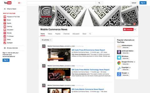 Screenshot of YouTube Page youtube.com - Mobile Commerce News  - YouTube - captured Nov. 4, 2014