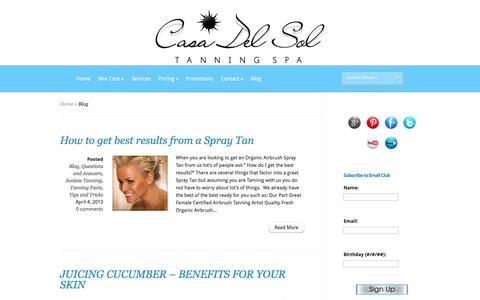 Screenshot of Blog casadelsoltanningspa.com - Blog   Casa Del Sol Tanning Spa - captured Sept. 29, 2014