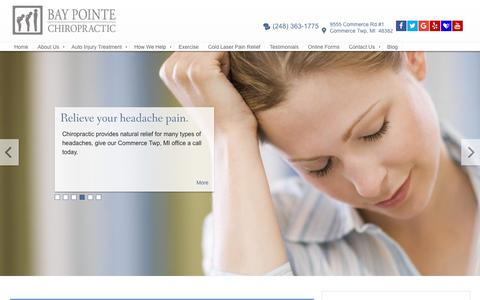 Screenshot of Home Page bpchiro.com - Commerce Twp, MI Chiropractor :: Bay Pointe Chiropractic :: Dr. Mark Kendall - captured Oct. 5, 2018