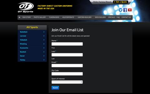 Screenshot of Signup Page otsports.com - Join Our Email List   OT Sports - captured Oct. 6, 2014
