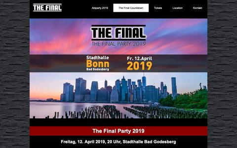 Screenshot of Home Page the-final-party.de - The Final Party 2019 - 12.04.2019 - Stadthalle Bonn Bad Godesberg - captured Oct. 30, 2018
