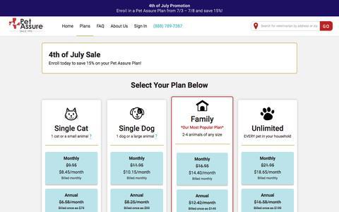 Screenshot of Pricing Page petassure.com - Pet Plan Details and Cost | Pet Assure - captured July 6, 2019