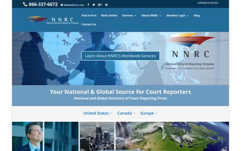 Screenshot of Home Page nnrc.com - National Court Reporters and Reporting Companies Directory - captured Nov. 30, 2016