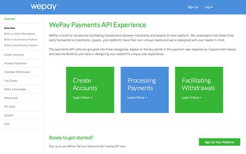 Screenshot of Developers Page wepay.com - Overview - WePay API - captured Sept. 17, 2014