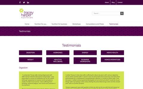 Screenshot of Testimonials Page traceyharpernutrition.co.uk - Testimonials | Tracey Harper Nutrition Therapist - captured Dec. 20, 2016