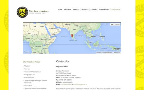 Screenshot of Contact Page diaslaw.in - Contact Us | - captured Oct. 5, 2014