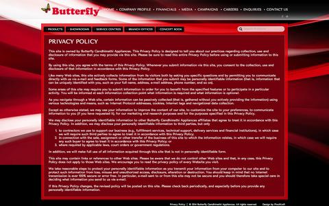 Screenshot of Privacy Page butterflyindia.com - Privacy Policy   Butterfly Gandhimathi Appliances – stylish home appliances & kitchen products - captured Sept. 19, 2014